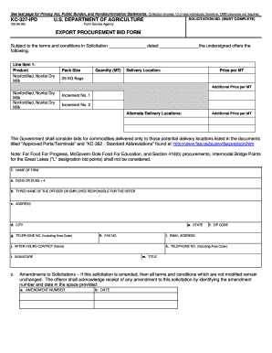 KC - 327 - IPD - Export Procurement Bid Form - USDA Farm Service ... - fsa usda