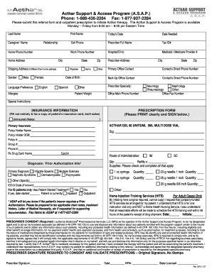 Acthar Referral Form - Fill Online, Printable, Fillable, Blank ...