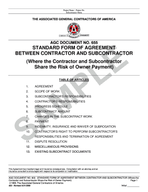 Fillable Online Agc document no. 655 standard form of agreement ...