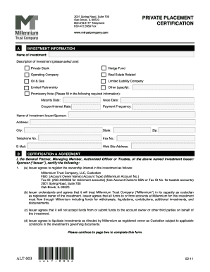 Private Placement Certification Form
