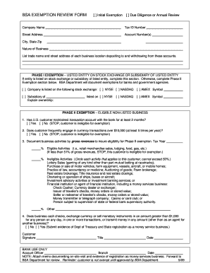 Bsa Exemption Review Form - Fill Online, Printable, Fillable ...