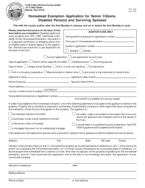 homestead act for clermont county ohio to fill out online