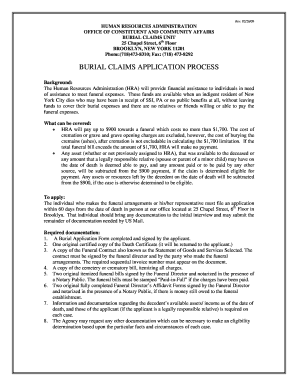 burial claims process & applications pdf form