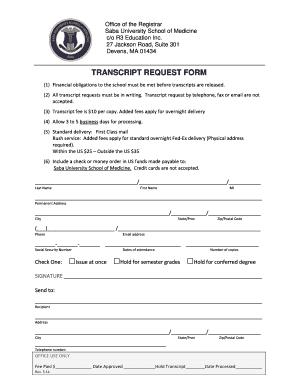 Saba Transcript Request Form - Fill Online, Printable, Fillable ...
