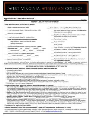 Application for Graduate Admission - wvwc