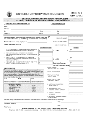 Form W 1 Kjda - Fill Online, Printable, Fillable, Blank | PDFfiller