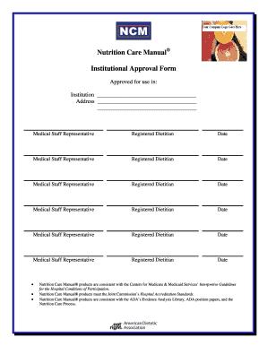 fillable online nutrition care manual institutional approval form rh pdffiller com nutrition care manual subscription nutrition care manual citation