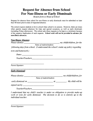 Fillable Online fpds Absence/Early Dismissal Form Fax Email Print ...