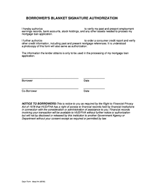 Fha Blanket Signature Authorization - Fill Online, Printable ...