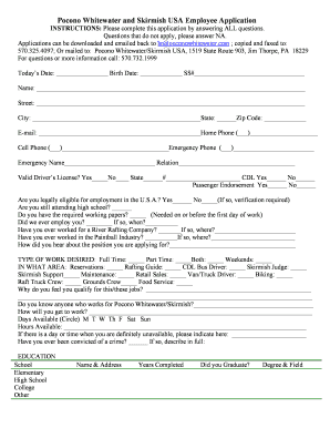 free employment application forms and templates fillable
