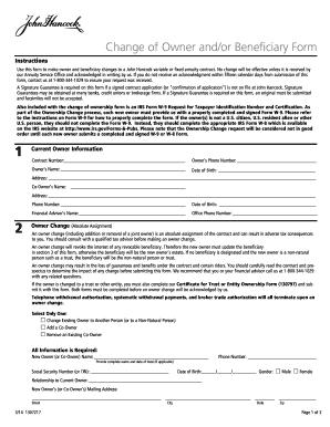 John Hancock Beneficiary Change Form Fill Online Printable