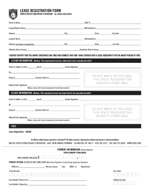 usef lease agreement form