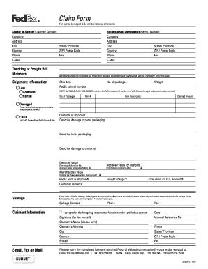 Fedex Claim Form - Fill Online, Printable, Fillable, Blank   PDFfiller