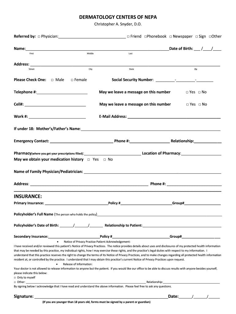 printable dermatology patient demographics forms