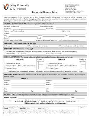 2012 Form DeVry University Transcript Request Form Fill Online ...