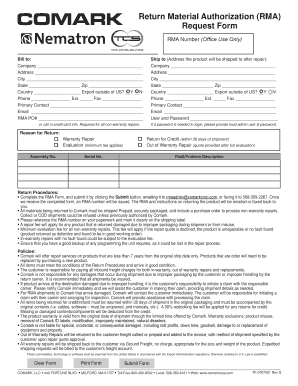 Return material form template fill online printable for Rma request form template
