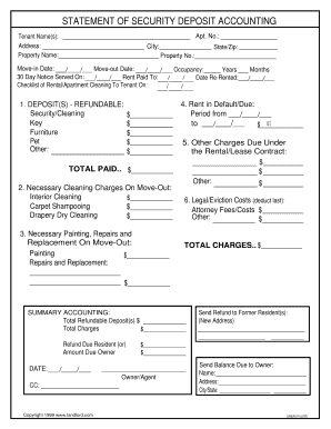 statement security deposit accounting form