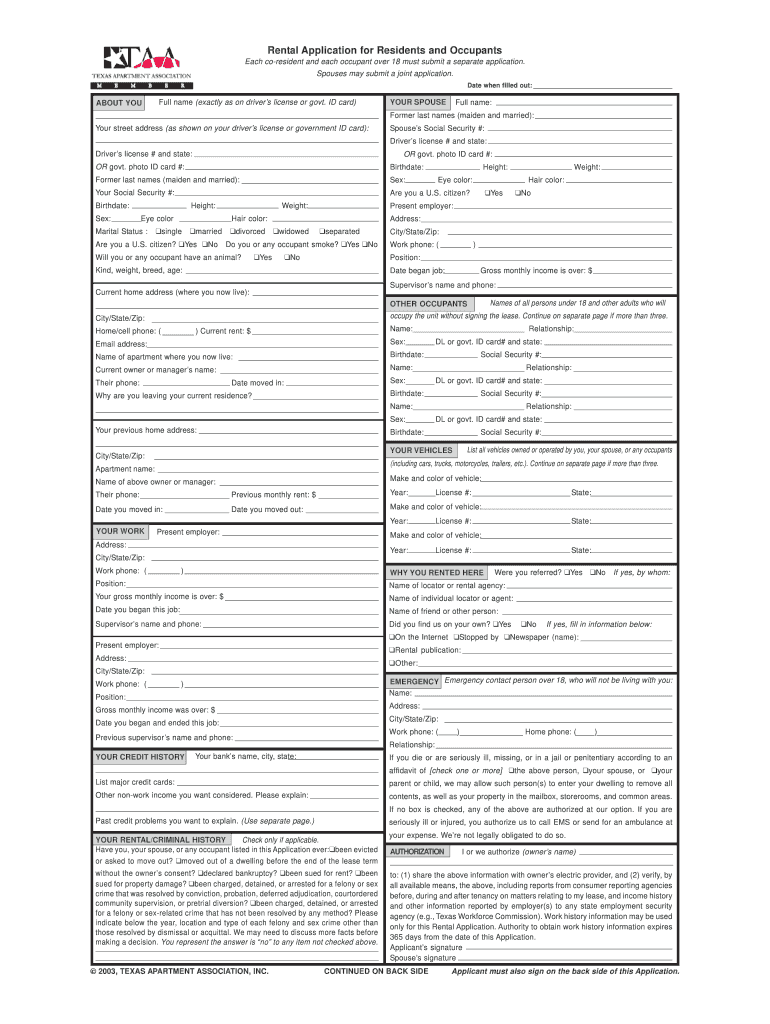 Texas Apartment Association Fill Online Printable