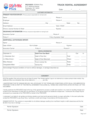 commercial truck rental agreement form