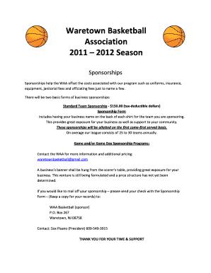 Basketball Sponsorship Form Fill Online Printable Fillable