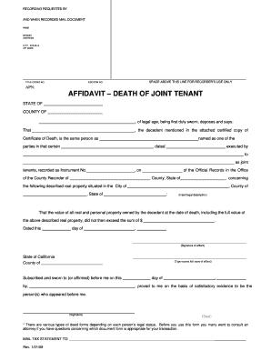Affidavit Of Surviving Joint Tenant Ohio - Fill Online, Printable ...