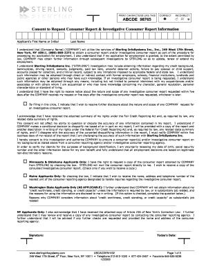 Sterling Consent To Request Consumer Report