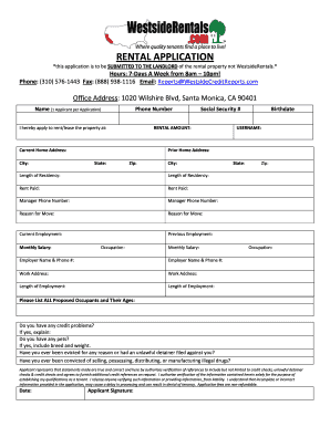 Westside Rentals Application Fillable Fill Online