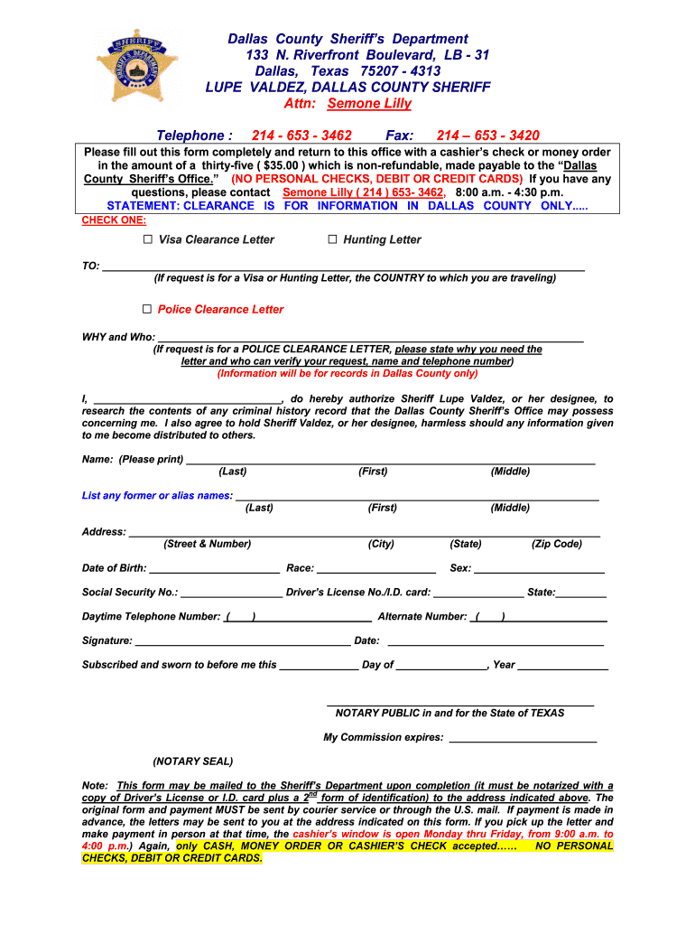 Tx Police Clearance - Fill Online, Printable, Fillable