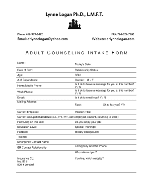 Counseling Fillable Intake Form - Fill Online, Printable, Fillable ...
