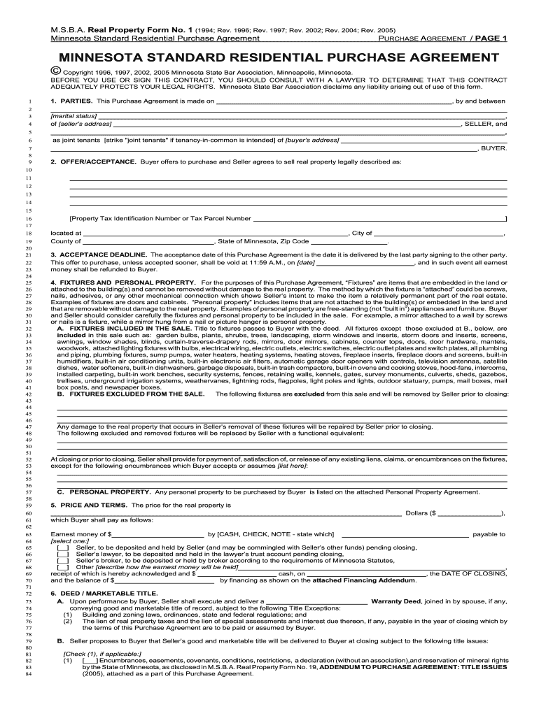 Minnesota Purchase Agreement Fill Online Printable