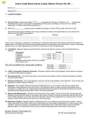 Iowa Farm Lease Short Form - Fill Online, Printable, Fillable ...