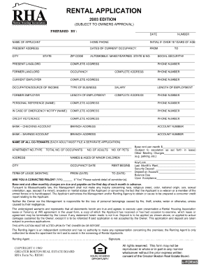 Rha Rental Application - Fill Online, Printable, Fillable, Blank ...