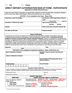 dpss benefit direct deposit form