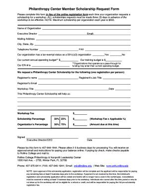 Wonderful Non Profit Scholarship Appplication Form