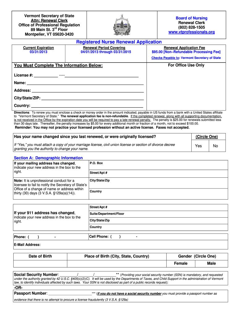 2013-2019 Form VT RN Renewal Application Fill Online
