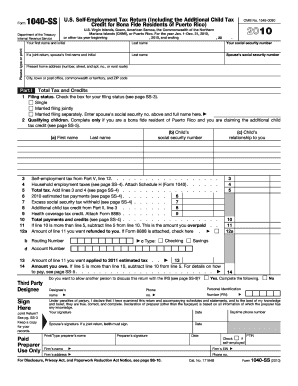 2010 1040 ss form