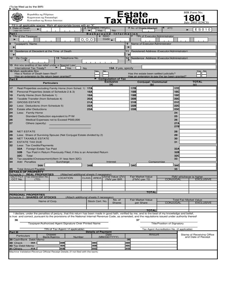 Bir Form 1801 - Fill Online, Printable, Fillable, Blank