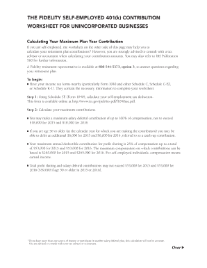 fidelity self employed 401 k contribution worksheet form