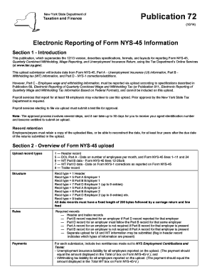 Fillable Online tax ny Publication 72: 8/11: Electronic Reporting ...