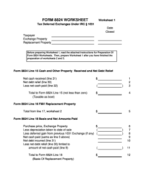 Like Kind Exchange Worksheet - Fill Online, Printable, Fillable ...