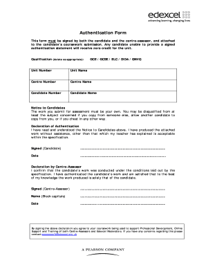 edexcel coursework authentication form