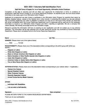 Fillable Online EEO: EEO-1 Voluntary Self Identification Form ...