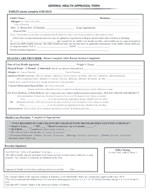 Fillable Online General Health Appraisal Form - Colorado Chapter ...