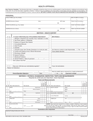 state of michigan health appraisal form troy schools