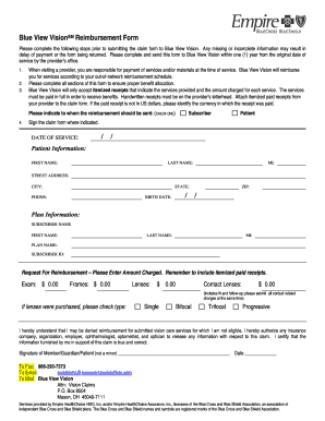 Blue View Vision Reimbursement Form - Fill Online, Printable ...