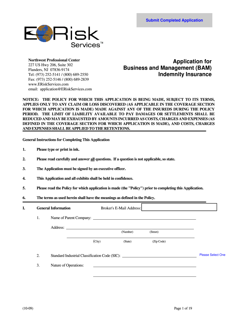 Applicaton For Business And Management Bam Indemnity ...