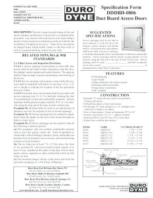 Fillable Online Specification Form Dddbd 0806 Duct Board
