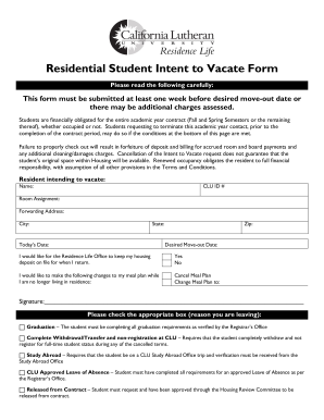 Residential Student Intent to Vacate Form - callutheran