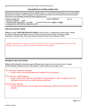 sample of filled iep virginia forms