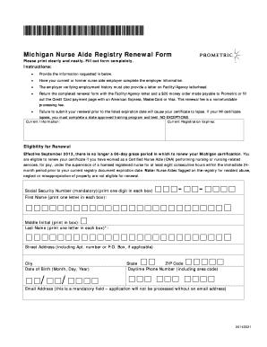 prometric cna renewal - PDFfiller